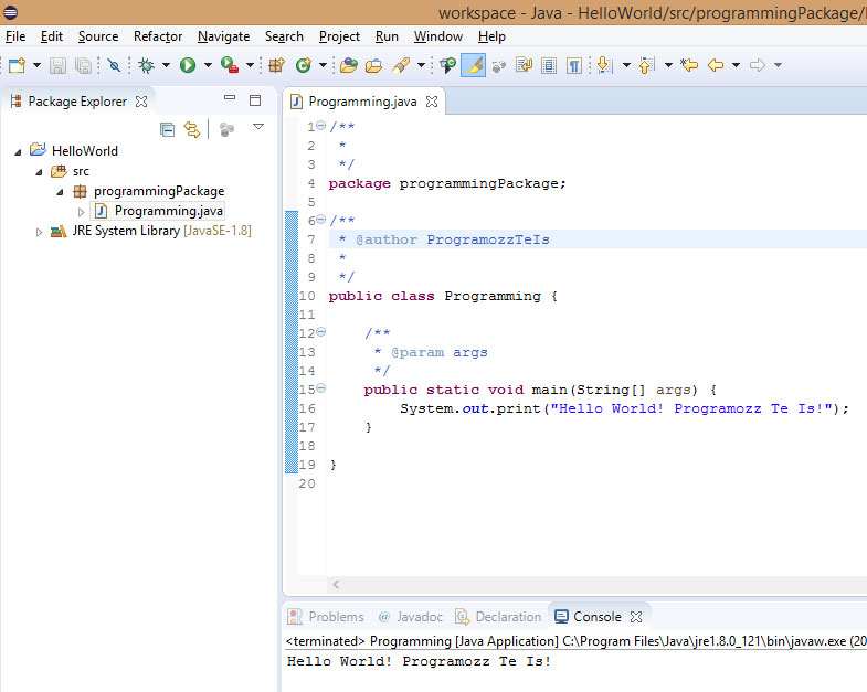 Eclipse Hello World Java Programozas