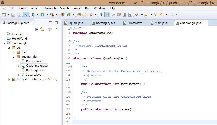 Quadrangle Abstract Class Java Programozas