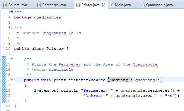 Quadrangle Printer Class Java Programozas