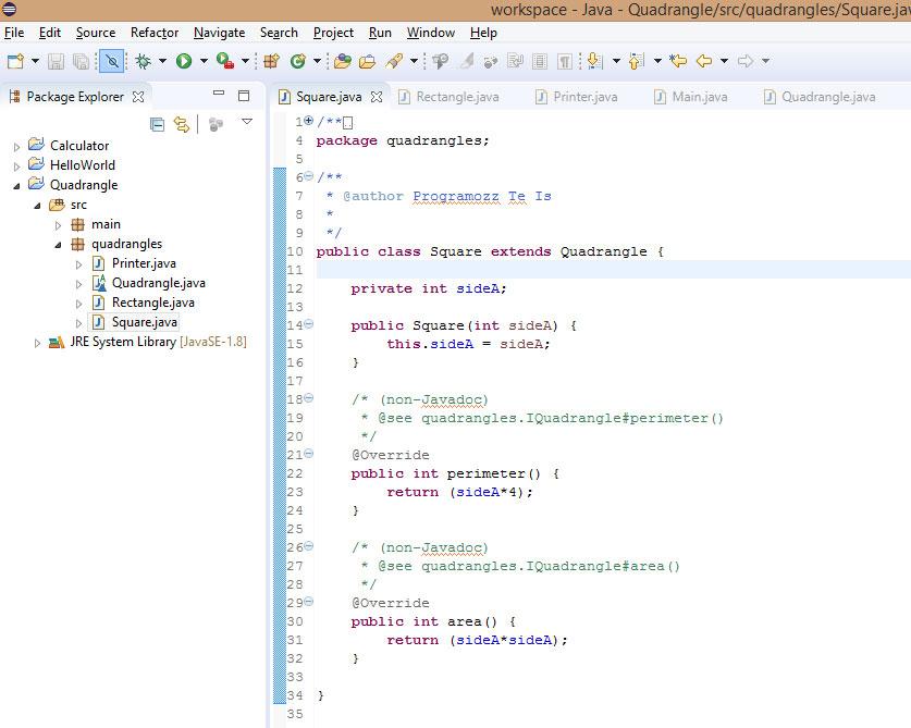 Quadrangle Square Java Programozas